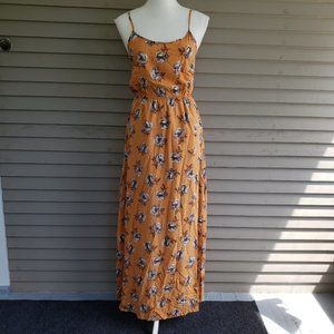 Forever 21 Mustard Floral Maxi Dress Size Small